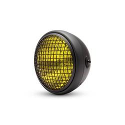 "7 "" Classic Matte Black Mesh Headlight  - Yellow Lens"