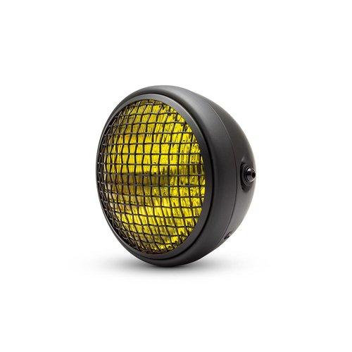 "7.7"" Classic Matte Black Mesh Headlight  - Yellow Lens"