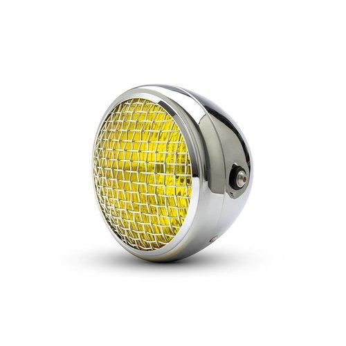 "7.7"" Klassieke Chrome Mesh-koplamp - gele lens"
