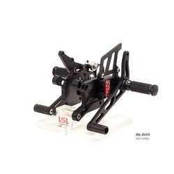 2-Slide rear set TRIUMPH Street Triple R 13- for Quick Shifter, black, mounting piece red