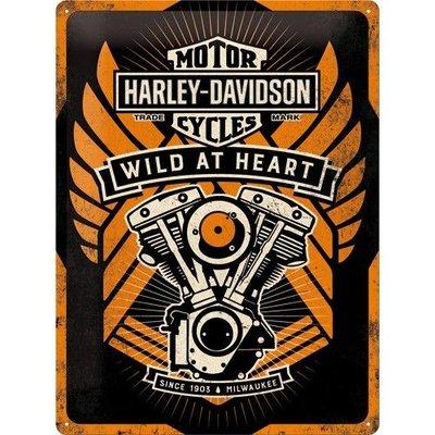 """H-D """"Wild at Heart"""" 30x40cm Plaque en étain"""
