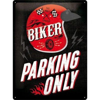 Biker parking only 30x40cm Tin sign