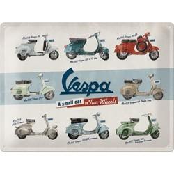 Vespa Model Chart 40x30 Blechschild