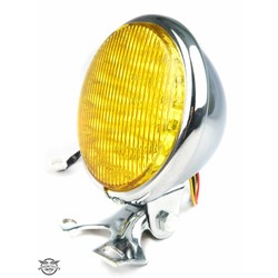 "5"" Old School Cafe Racer Headlight Chrome & Yellow"