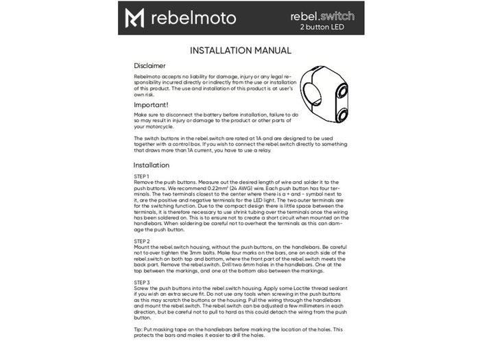 Rebelmoto REBEL SWITCH 2 button LED – Black 22mm