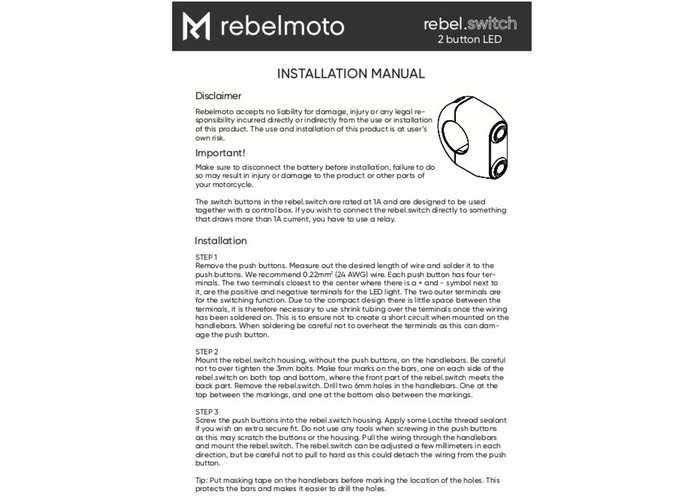 Rebelmoto REBEL SWITCH 2 button LED – Polished 22mm