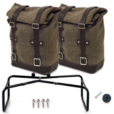 UNIT Garage TWO WAXED SUEDE SIDE PANNIERS + DOUBLE SUBFRAME R NINET