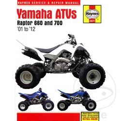 Werkplaatshandboek YAMAHA RAPTOR 660 & 700 ATVS 2001 - 2012