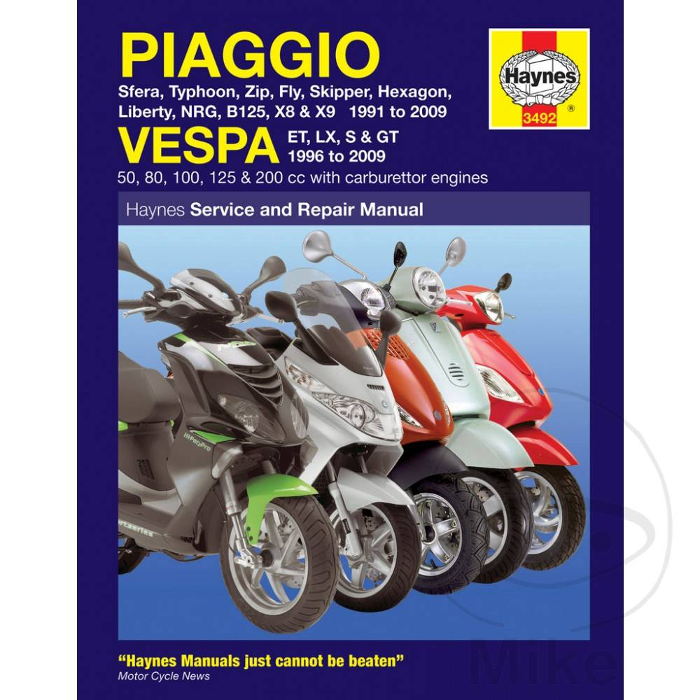 Repair Manual Piaggio Vespa Scooters 91 09 Caferacerwebshop Com