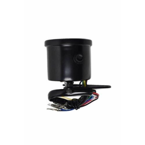 60MM Speedo with 4 Warning Lights LEDs - Black