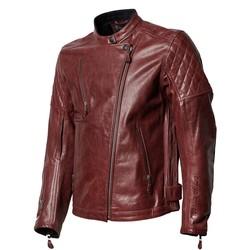 Veste Clash en cuir rouge signature RS