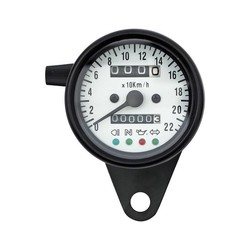 Black & White Speedometer with 4 Function Lights