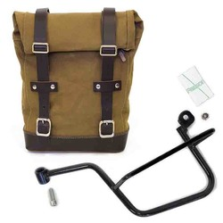 Left Canvas luggage bag and mounting bracket Moto Guzzi V7