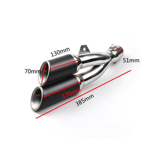 Twin 2-1 Zwart Chrome 51mm