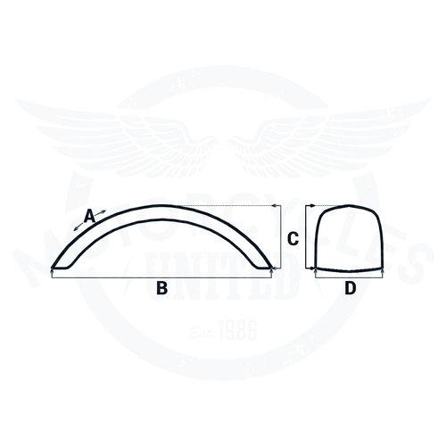 """Motone Rear Fender/Mudguard Rolled Steel 135 mm width 15/16"""" Wheel"""