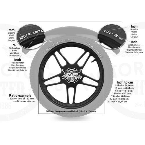 Motone Vorderradschutzblech aus Walzstahl 110 mm breit für 15/16 Zoll Laufräder