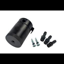 3-poorts aluminium Oil Catch Tank zwart