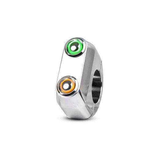 Rebelmoto REBEL SWITCH LED avec 2 boutons - Poli 22 mm