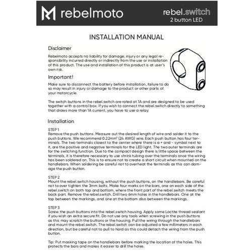 "Rebelmoto REBEL.SWITCH 2 knops LED - polished 1"""