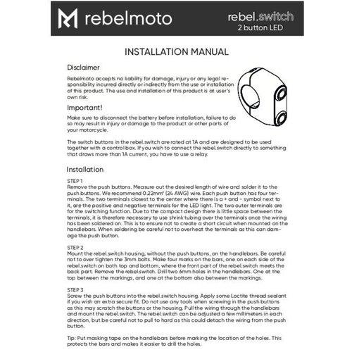 Rebelmoto REBEL.SWITCH 2 knops - Zwart 22mm