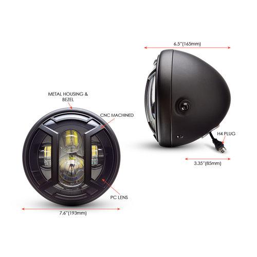 """Projecteur à LED 7,7"""" avec multiprojecteur noir mat et cache protecteur"""