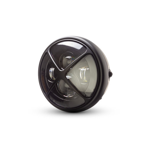"7  ""Matzwarte multi-projector LED-koplamp +   X Cross Cover"