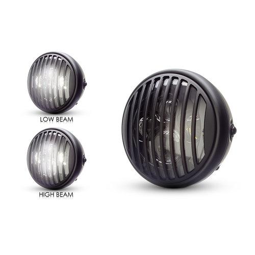"7  ""Matzwarte multi-projector LED-koplamp +  Vent Cover"