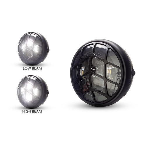 "7  ""Matzwarte multi-projector LED-koplamp +  Tiretrack Cover"