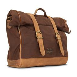 Single Side Saddlebag Large Waxed Cotton Marron Brown