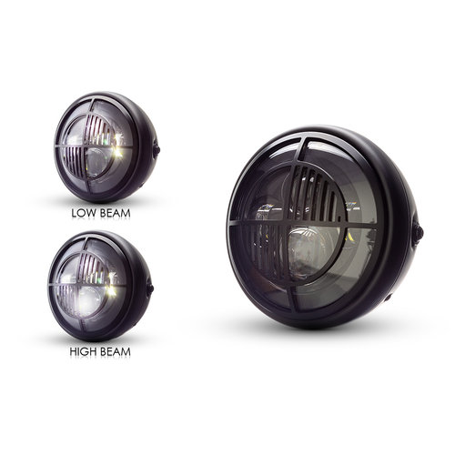 "7  ""Matzwarte multi-projector LED-koplamp +  Beemer Cover"