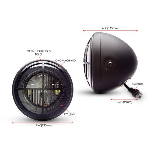 """Projecteur à LED 7,7"""" avec multiprojecteur noir mat et grille Beemer"""