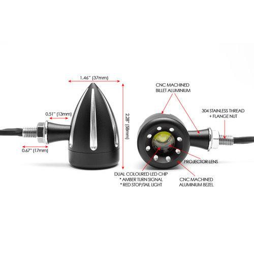 Cyclops Black + Stop / Feux arrière à DEL intégrés avec coupe contrastée + clignotants