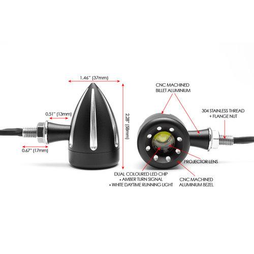 Clignotants à LED intégrés avec contraste contrasté noir et feux diurnes