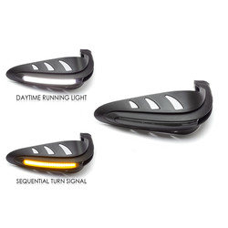 Protège-mains à DEL avec feux de course intégrés + clignotants