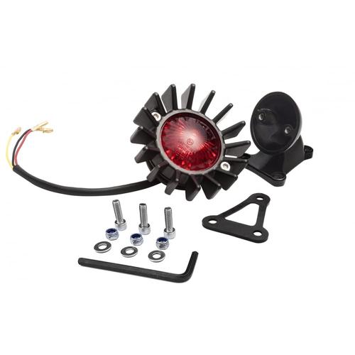 Motone Big Fin achterlicht LED + spatbordbevestigingsset - zwart