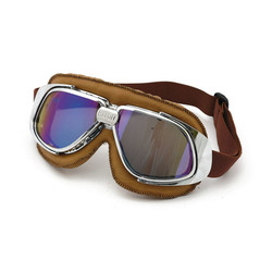 Classic Racer Goggles Brown Leather Irridium lens