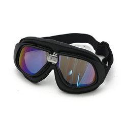 Classic Racer Goggles Black Leather Irridium lens