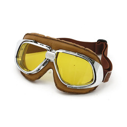Classic Racer Goggles brown Leather yellow lens