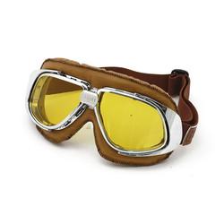 Klassische brille braun Leder gelb Glaslinse