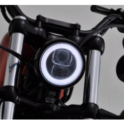 "4.5"" LED Halo Headlight ""Capsule120"" Black  Bottom-Mount"