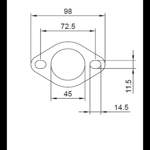 Simons 2-gaats flens 45mm met pakking