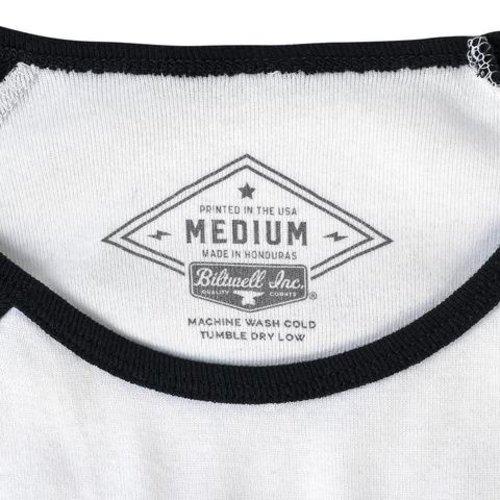 Biltwell Dames Cursive raglan T-shirt - zwart / wit