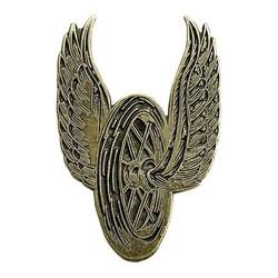 Enamel Pin Winged Wheel - Brass