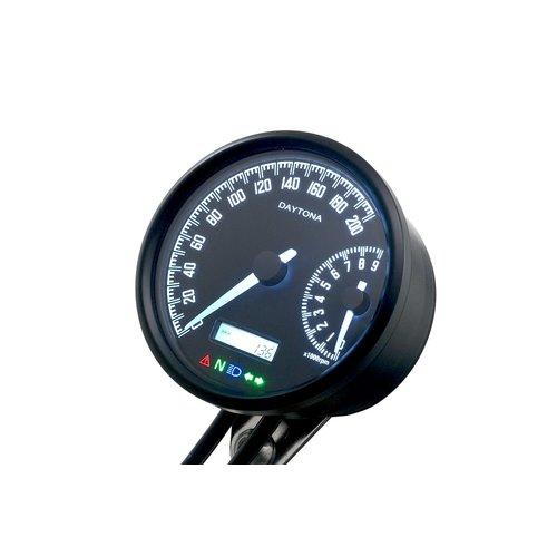"""Daytona Velona """"W"""" 80 mm Tachometer 200 km / h und 9000 U / min"""