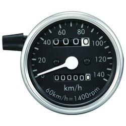 Odomètre 60 mm noir / chrome 140 km / h