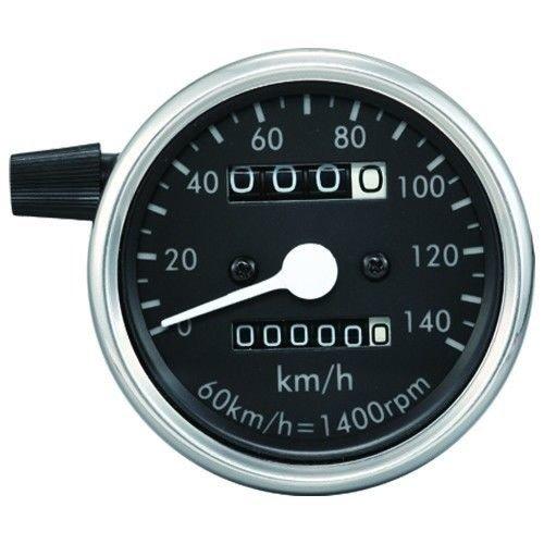 60mm Kilometerteller Zwart / Chroom 140 km/h