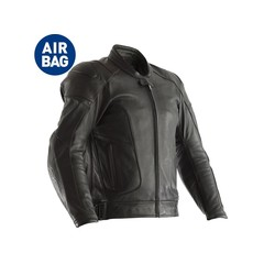 Black GT Airbag Leather Motorcycle Jacket Men