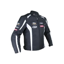Black / White IOM TT TEAM Motorcycle Jacket Textile Men
