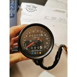 60MM kilometerteller met 4 controlelampjes - zwart