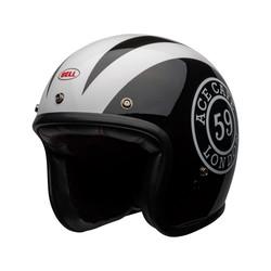 Custom 500 DLX Helm Ace Cafe 59 Glanz Schwarz / Weiß